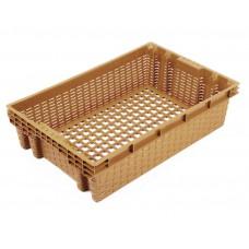 Ящик пластиковый Евролоток 600х400х152 мм с перфорацией плетёнка